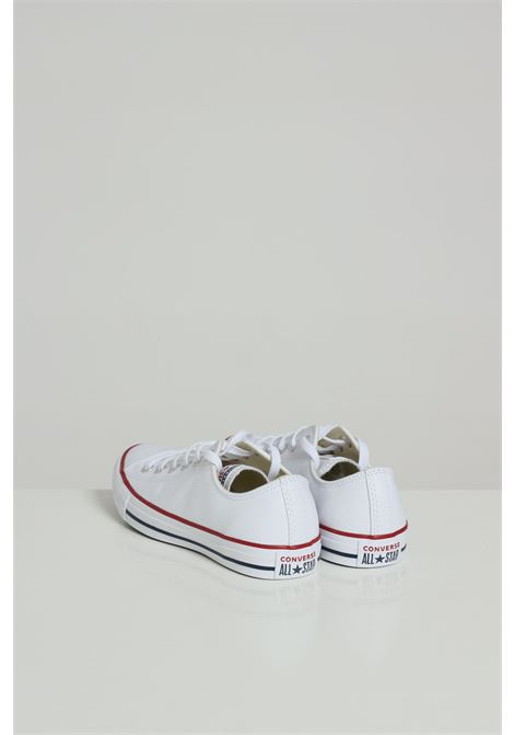 White leather sneakers in solid color with rubber sole and colored bands, round toe, closure with laces. Converse CONVERSE | Sneakers | 132173C100