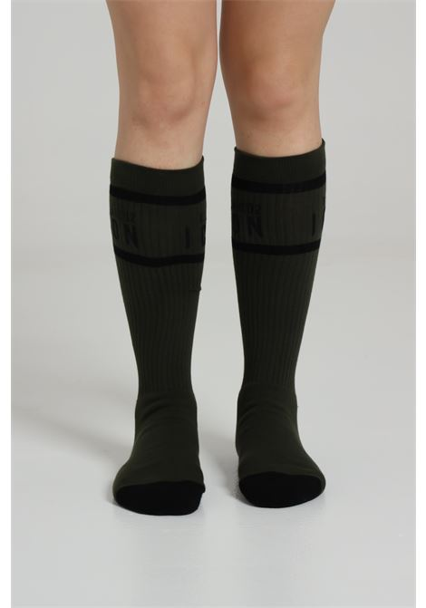 Military green socks in cotton with contrasting logo. Dsquared2  DSQUARED2 | Socks | DFV141750312
