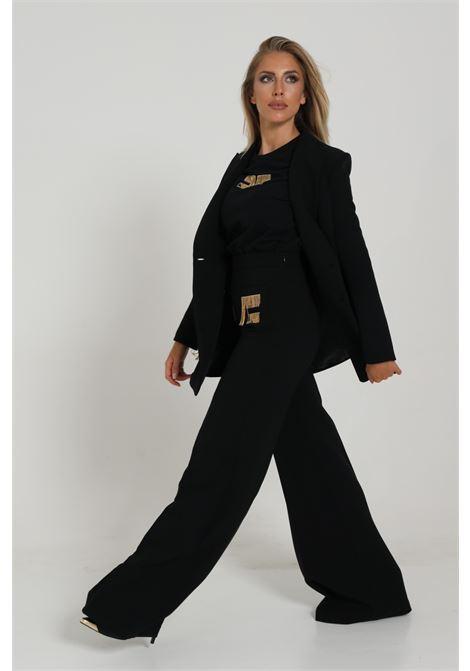 Pantalone A Zampa Con Logo Pa34706e2 ELISABETTA FRANCHI | Pantaloni | PA34706E2110