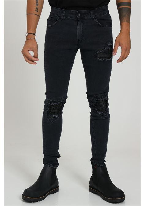 Jeans Con Strappi Chiusura Zip E Bottone FAMILY FIRST MILANO | Jeans | J710BKDENIM BIKER BLA