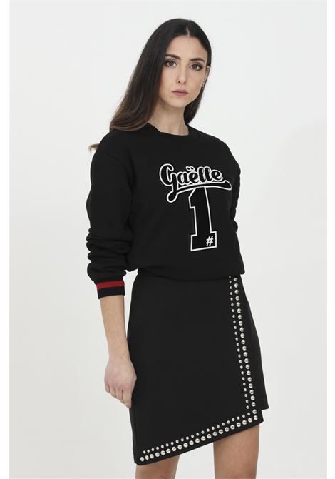 Crew neck sweatshirt with central logo application GAELLE | Sweatshirt | GBD7081NERO