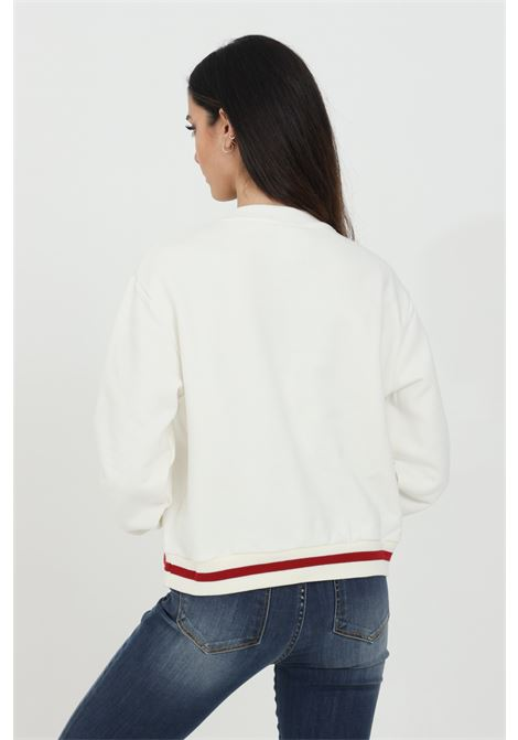 Crew neck sweatshirt with central logo application GAELLE | Sweatshirt | GBD7081OFF WHITE