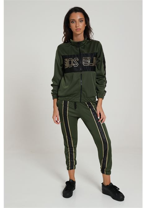 Tuta donna verde-oro gioselin sport felpa chiusura con zip integrale e logo frontale, pantaloni con bande logate e polsini elastici GIOSELIN | Tute | BICOLORVERDE/ORO