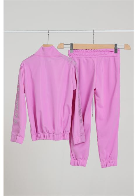 Pink suit, sweatshirt with zip and maxi logo on the front and trousers with logo bands. Baby model. Brand: Gioselin GIOSELIN | Suit | TUTA STRASSROSA