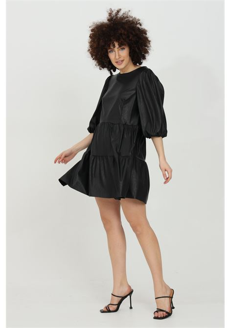 Dress in eco-leather, solid color HAVEONE | Dress | ALA-D017NERO
