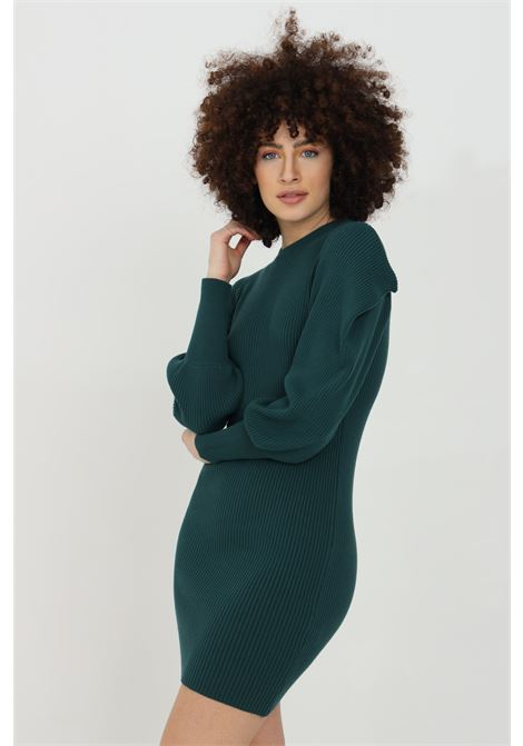 Ribbed dress with balloon sleeves HAVEONE | Dress | ANC-D007VERDE BOTTIGLIA