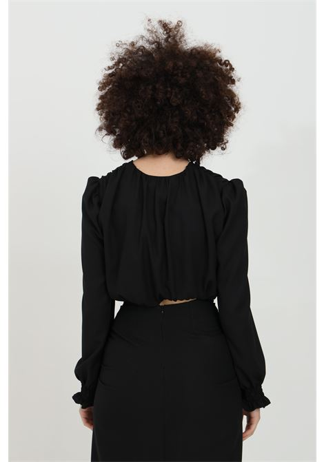 Blouse with central intersection and long sleeves HAVEONE | Blouse | CLA-D041NERO