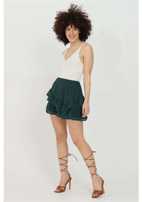 Mini skirt with spring at waist and flounces HAVEONE | Skirt | GJO-D034VERDE