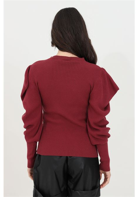Ribbed sweater with balloon sleeves. HAVEONE | Knitwear | MNC-D012BORDEAUX