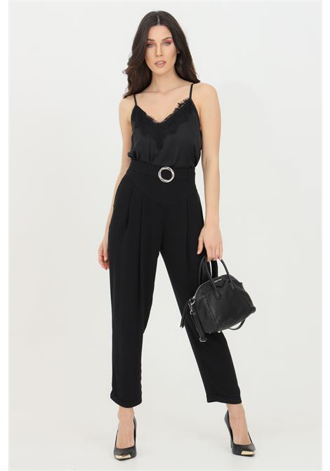 Trousers with belt at the waist and metal buckle KONTATTO | Pants | NO3009NERO