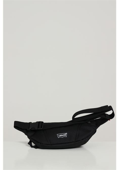 Black pouch in solid color with contrasting logo, adjustable belt, zip closure. Levi's LEVI'S | Pouch | 231912059