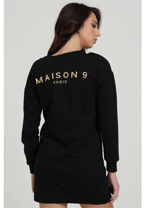 Abito corto con logo frontale MAISON 9 PARIS D | Abiti | A7096NERO/ORO