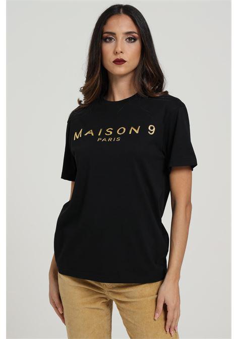 T-shirt Con Logo Frontale Modello Comodo MAISON 9 PARIS D | T-shirt | M4113NERO/ORO