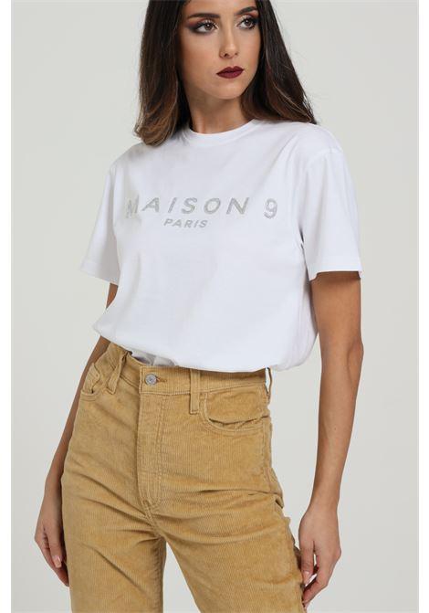T-shirt Con Logo Frontale MAISON 9 PARIS D | T-shirt | M4116BIANCO/ARGENTO