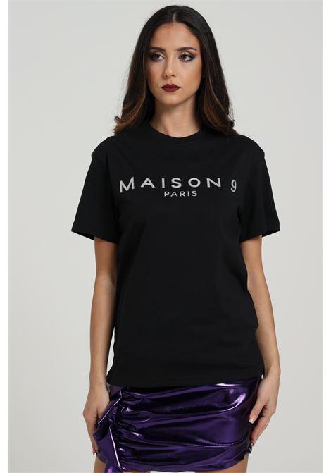 T-shirt Con Logo Frontale MAISON 9 PARIS D | T-shirt | M4116NERO/ARGENTO