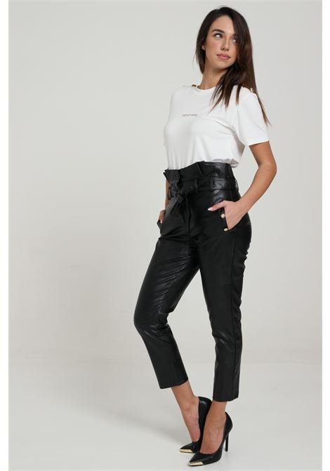 Pantalone Ecopelle Con Cintura In Vita ODI ET AMO | Pantaloni | 105S1NERO