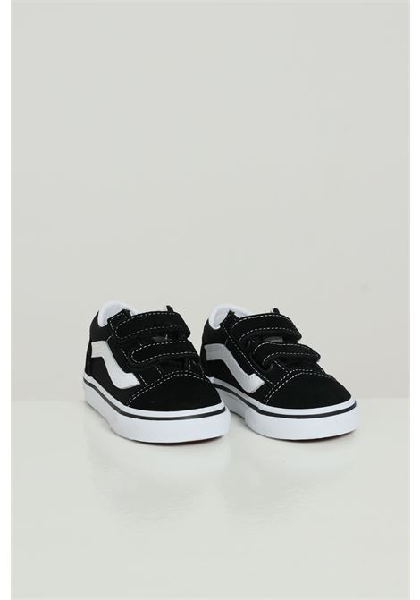 Black-white baby sneakers in solid color wiht contrasting sole and logo, closure with velcro. Vans VANS | Sneakers | VN000D3YBLK1BLK1