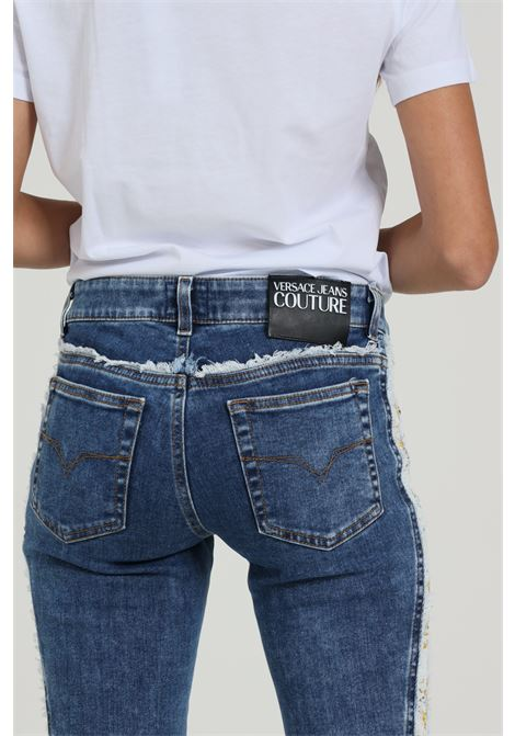 Jeans Sfrangiato Sul Fondo Bande Laterali Stampate VERSACE JEANS COUTURE   Jeans   A1HZA08DAPW6N904