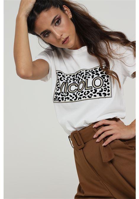 T-shirt Con Stampa E Logo Centrale VICOLO   T-shirt   RW0128BIANCO MACULATO