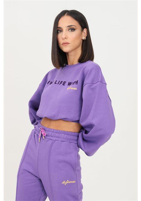 Violet women's sweatshirt by 4giveness crew neck model 4GIVENESS | Sweatshirt | FGFW1142070