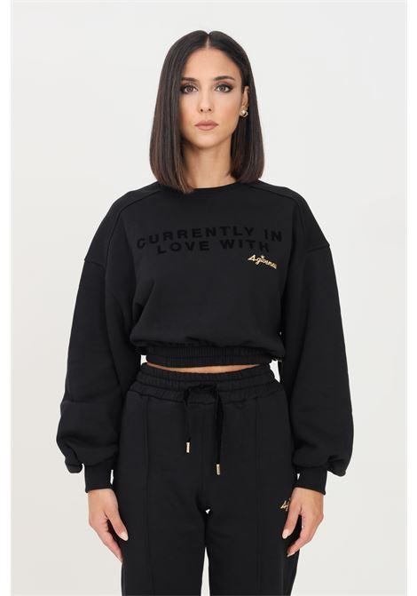 Black women's sweatshirt by 4giveness crew neck model short cut 4GIVENESS | Sweatshirt | FGFW1145110