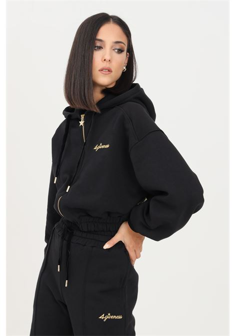 Black women's hoodie by 4giveness short cut with zip 4GIVENESS | Sweatshirt | FGFW1146110