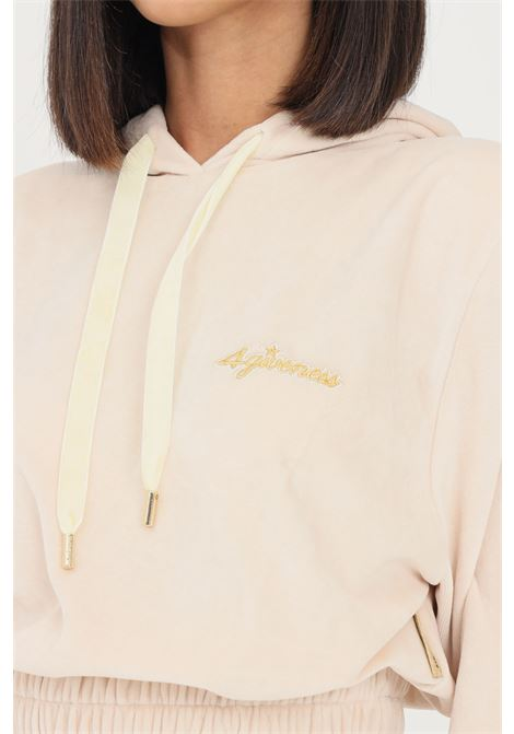 Cream women's hoodie by 4giveness with gold logo 4GIVENESS | Sweatshirt | FGFW1168OFF WHITE