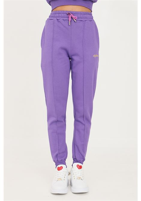 Violet women's trousers by 4giveness casual model with elastic waistband 4GIVENESS | Pants | FGPW1147070