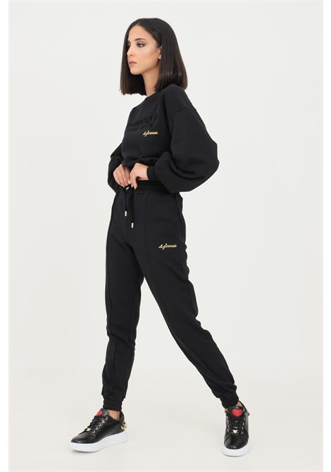 Black women's trousers by 4giveness casual model with elastic waistband  4GIVENESS | Pants | FGPW1147110