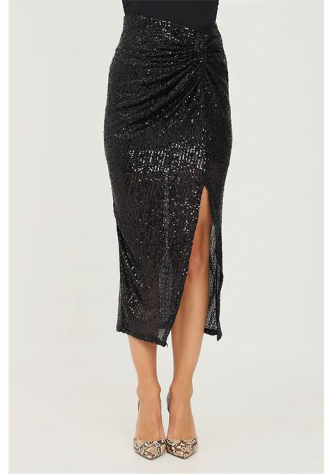 Black skirt by addicted with sequins, midi cut ADDICTED | Skirt | 3728NERO