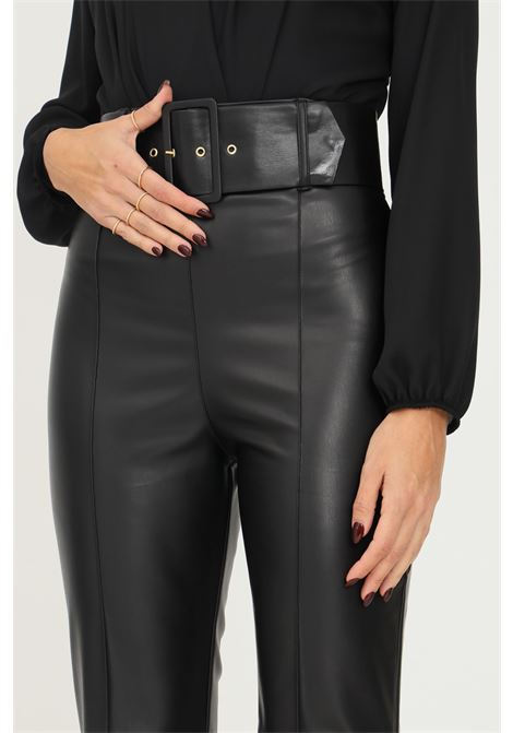 Black women's trousers by addicted in eco leather with belt at the waist ADDICTED | Pants | BY487NERO