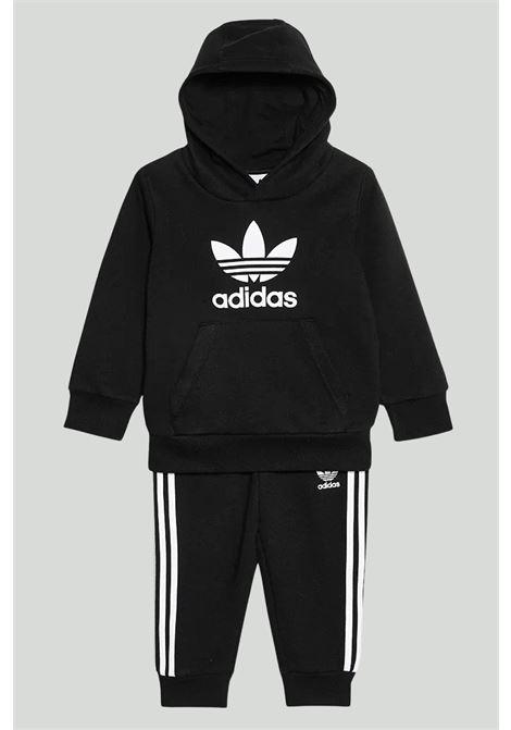 Black newborn trefoil hoodie suit adidas ADIDAS | Suit | DV2809.