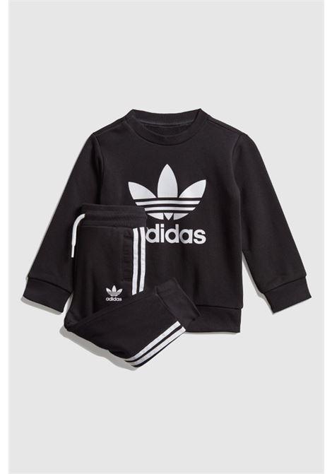 Black crew trefoil baby suit by adidas  ADIDAS | Suit | ED7679.