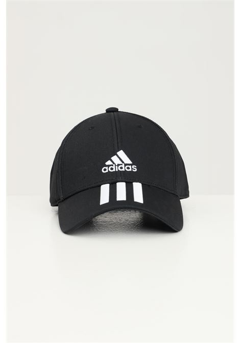 Black unisex cap by adidas with contrasting logo and bands on the front ADIDAS | Hat | FK0894.