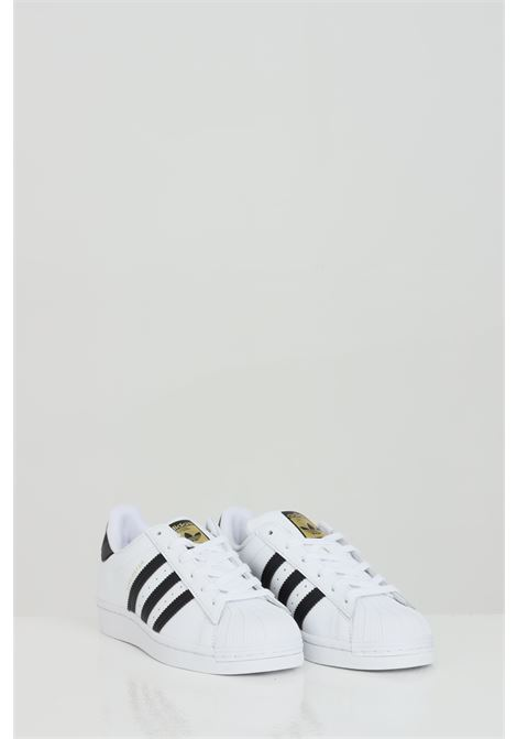 White women's adidas superstar J sneakers with side bands  ADIDAS | Sneakers | FU7712j.
