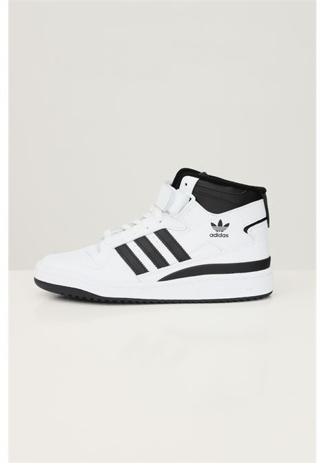 White men's forum mid sneakers by adidas with contrasting bands ADIDAS   Sneakers   FY7939.