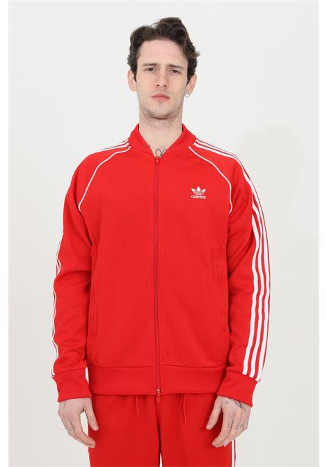 Felpa adicolor classic primeblue uomo rosso adidas con zip e bande laterali ADIDAS | Felpe | GF0196.
