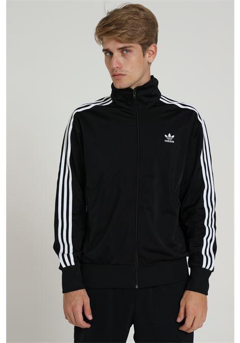 Black men's sweatshirt with front zip and side bands adidas ADIDAS | Sweatshirt | GF0213BLACK/WHITE