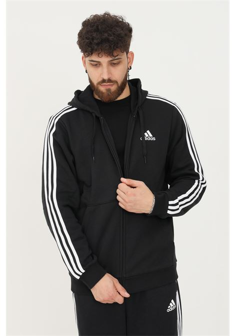 Felpa con cappuccio essentials fleece 3-stripes full zip uomo nero adidas ADIDAS   Felpe   GK9051.