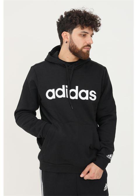 Felpa con cappuccio essentials linear logo uomo nero adidas ADIDAS | Felpe | GK9057.