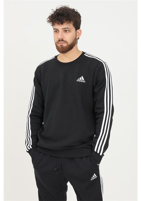 Felpa essentials fleece 3-stripes uomo nero adidas modello girocollo ADIDAS | Felpe | GK9106.