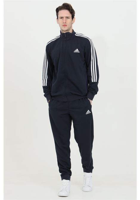 Blue men's essential 3 stripes suit with bands in contrast by adidas ADIDAS   Suit   GK9977.