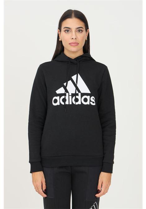 Felpa hoodie loungewear essentials logo fleece donna nero adidas con cappuccio ADIDAS | Felpe | GL0653.