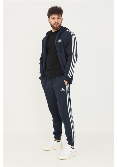 Pantaloni essentials fleece fitted 3-stripes uomo blu adidas sport ADIDAS | Pantaloni | GM1090.