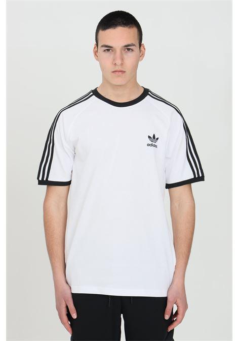 T-shirt uomo bianco adidas a manica corta con bande sulle spalle ADIDAS | T-shirt | GN3494.