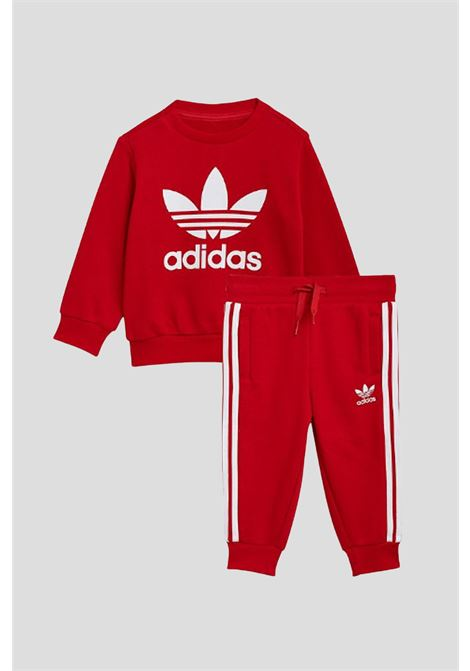 Red newborn set by adidas with contrasting logo ADIDAS   Suit   GN8195.