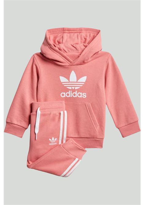 Pink newborn trefoil hoodie jumpsuit adidas ADIDAS   Suit   GN8198.