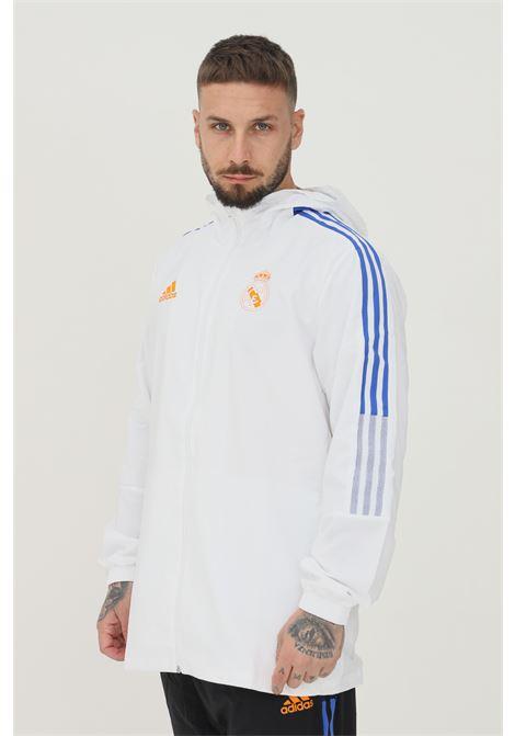Giacca da rappresentanza tiro real madrid uomo bianco con zip e cappuccio ADIDAS | Felpe | GR4333.