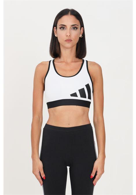 White believe thise medium support workout logo bra by adidas  ADIDAS | Top | GR8024.