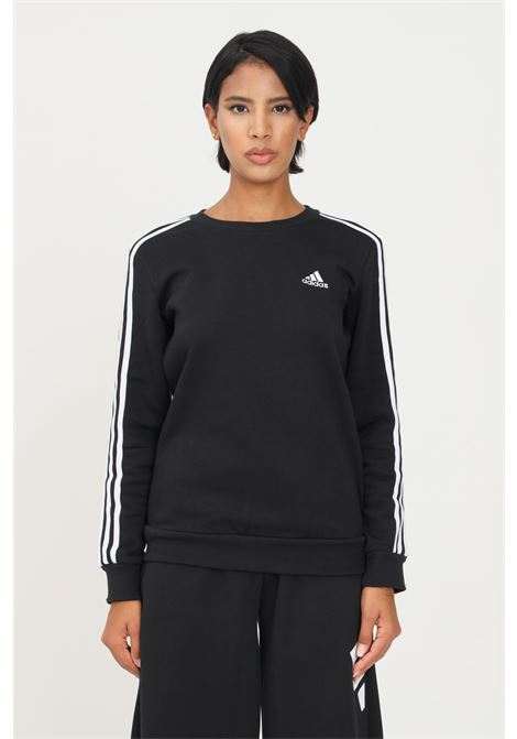 Felpa essentials 3 stripes fleece donna nero adidas girocollo ADIDAS | Felpe | GS1344.